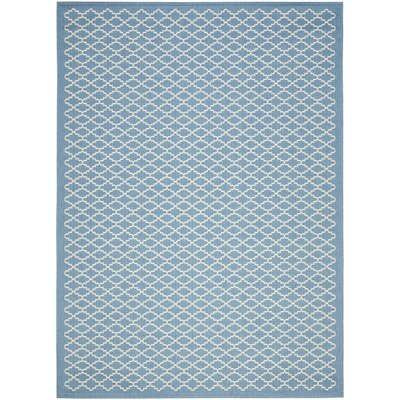 Bacall Blue / Beige Indoor / Outdoor Area Rug Rug Size: Rectangle 4 x 57