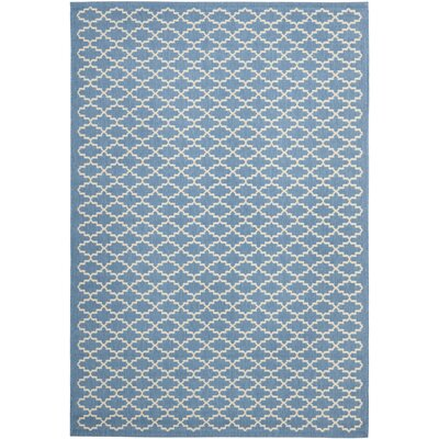 Bacall Blue / Beige Indoor / Outdoor Area Rug Rug Size: Rectangle 53 x 77