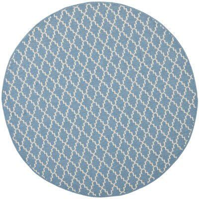 Bacall Blue / Beige Indoor / Outdoor Area Rug Rug Size: Round 53