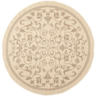 Bexton Beige/Brown Outdoor/Indoor Area Rug Rug Size: Round 53
