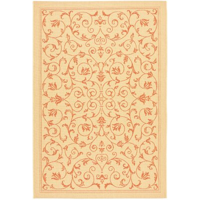 Bexton Beige/Red Outdoor/Indoor Area Rug Rug Size: 4 x 57