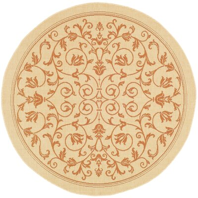 Bexton Beige/Red Outdoor/Indoor Area Rug Rug Size: Round 67