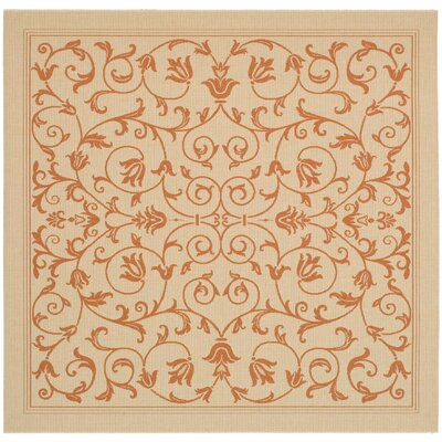 Bexton Beige/Red Outdoor/Indoor Area Rug Rug Size: Square 67