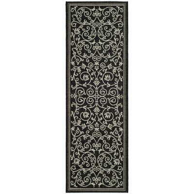Bexton Black/Sand Outdoor Area Rug Rug Size: Runner 23 x 14
