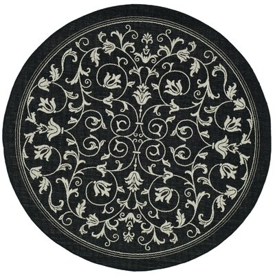 Bexton Black/Sand Outdoor Area Rug Rug Size: Round 53