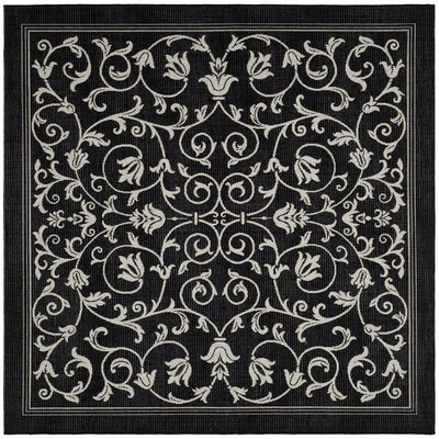 Bexton Black/Sand Outdoor Area Rug Rug Size: Square 67