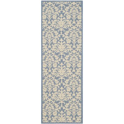 Bexton Blue/Natural Indoor/Outdoor Rug Rug Size: Rectangle 27 x 5