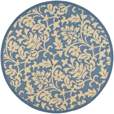 Bexton Blue/Natural Indoor/Outdoor Rug Rug Size: Round 53