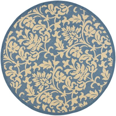 Bexton Blue/Natural Indoor/Outdoor Rug Rug Size: Round 67