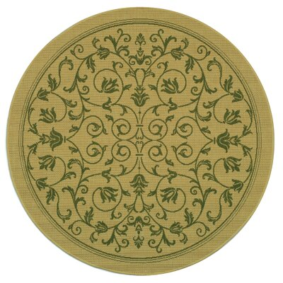 Bexton White Ivory / Green Outdoor Area Rug Rug Size: Round 67