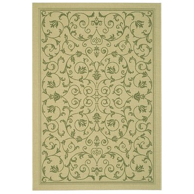 Bexton White Ivory / Green Outdoor Area Rug Rug Size: Rectangle 9 x 126