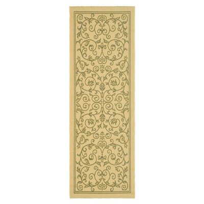 Bexton White Ivory / Green Outdoor Area Rug Rug Size: Runner 27 x 5