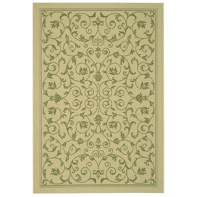 Bexton White Ivory / Green Outdoor Area Rug Rug Size: 53 x 77