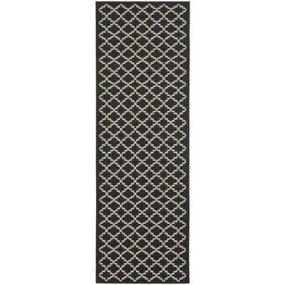 Bexton Black / Beige Outdoor Area Rug Rug Size: Runner 23 x 18