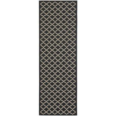 Bexton Black / Beige Outdoor Rug Rug Size: Runner 23 x 22