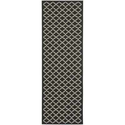 Bexton Black / Beige Outdoor Area Rug Rug Size: Runner 24 x 67
