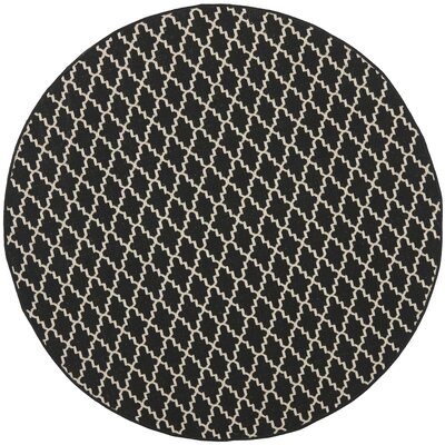 Bexton Black / Beige Outdoor Area Rug Rug Size: Round 67