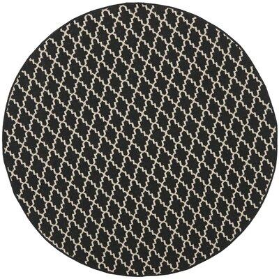 Bexton Black / Beige Outdoor Rug Rug Size: Round 67