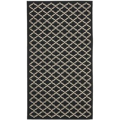 Bexton Black / Beige Outdoor Area Rug Rug Size: Rectangle 2 x 37