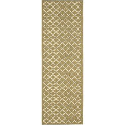 Bexton Green / Beige Outdoor Rug Rug Size: Runner 23 x 14