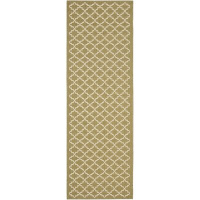 Bexton Green / Beige Outdoor Rug Rug Size: Runner 24 x 67