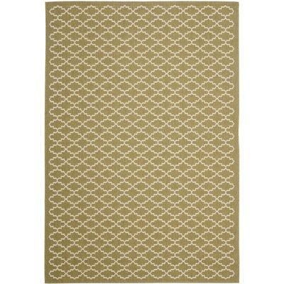 Bexton Green / Beige Outdoor Rug Rug Size: 53 x 77