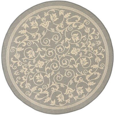 Bexton Natural/Gray Outdoor Area Rug Rug Size: Round 67