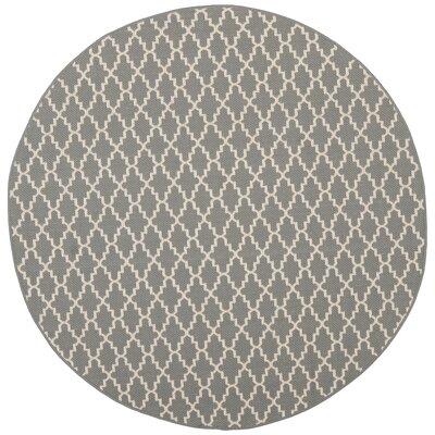 Bexton Anthracite/Beige Indoor/Outdoor Rug Rug Size: Round 4