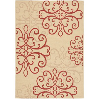 Bexton Creme/Red Indoor/Outdoor Rug Rug Size: 67 x 96