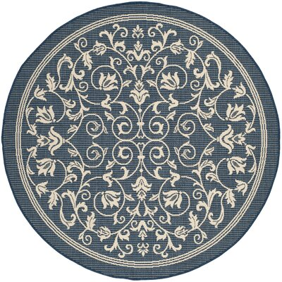 Bexton Navy & Beige Outdoor/Indoor Area Rug II Rug Size: Round 53