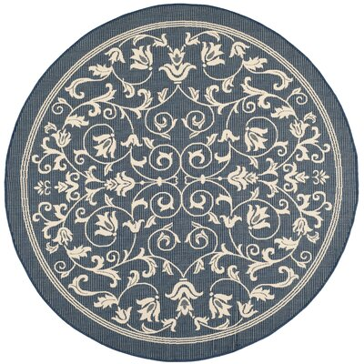 Bexton Navy & Beige Outdoor/Indoor Area Rug II Rug Size: Round 67