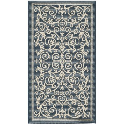 Bexton Navy & Beige Outdoor/Indoor Area Rug II Rug Size: Rectangle 2 x 37