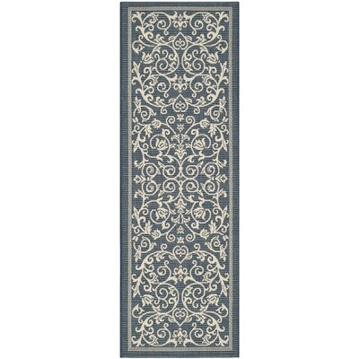 Bexton Navy & Beige Outdoor/Indoor Area Rug II Rug Size: Runner 23 x 10