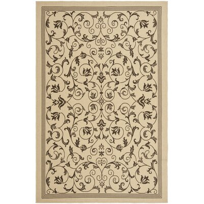 Rockbridge Natural/Chocolate Indoor/Outdoor Area Rug Rug Size: 66 x 96