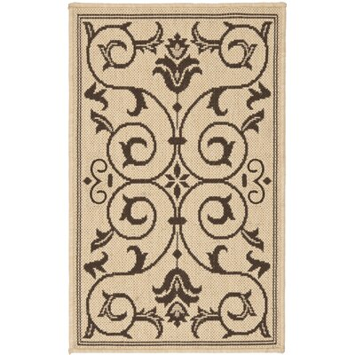 Rockbridge Natural/Chocolate Indoor/Outdoor Area Rug Rug Size: 18 x 28