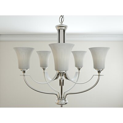 Pompton 5-Light Shaded Chandelier Finish: Brushed Steel
