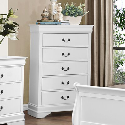 Waynesburg 5 Drawer Chest Finish: White