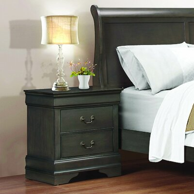 Waynesburg 2 Drawer Nightstand Finish: Stained Gray