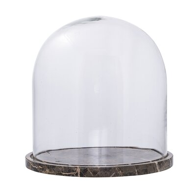 Brown Decorative Glass Dome with Marble Base