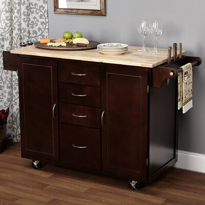 Harwick Kitchen Island with Wooden Top Base Finish: Espresso
