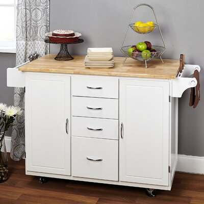 Harwick Kitchen Island with Wooden Top Base Finish: White