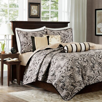 Pokanoket 6 Piece Quilted Coverlet Set Color: Black/Gold/Platinum, Size: King/California King