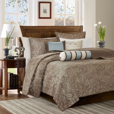 Pokanoket 6 Piece Quilted Coverlet Set Size: King/California King, Color: Taupe/Blue