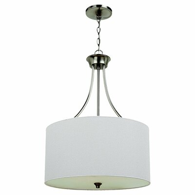 Foland 3-Light Drum Pendant Finish: Brushed Nickel, Bulb Type: Incandescent A19 100W