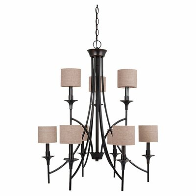 Foland 9-Light Shaded Chandelier Finish: Burnt Sienna