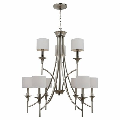 Foland 9-Light Shaded Chandelier Finish: Brushed Nickel