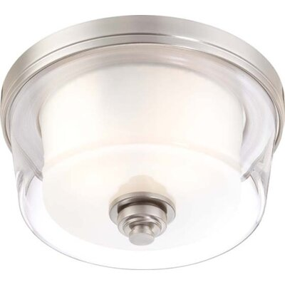 Waynesville 2-Light Flush Mount Finish / Glass Color: Brushed Nickel/ Clear Outer with Frosted Inner