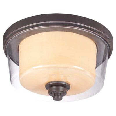 Waynesville 2-Light Flush Mount Finish / Glass Color: Sudbury Bronze/ Clear Outer with Cream Inner