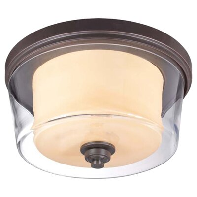 Waynesville 3-Light Flush Mount Finish / Glass Color: Sudbury Bronze/ Clear Outer with Cream Inner