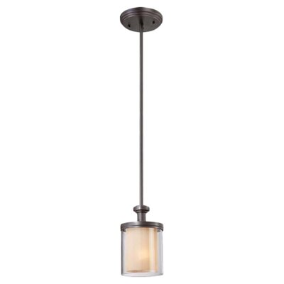 Waynesville 1-Light Mini Pendant Finish / Glass Color: Sudbury Bronze/ Clear Outer with Cream Inner